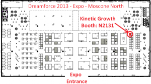 Dreamforce 2013 Expo map - Kinetic Growth booth N2131 - Moscone North