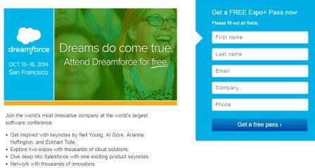 free dreamforce 2014 expo pass