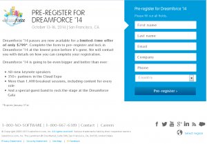 pre-register for salesforce.com's Dreamforce 2014 conference