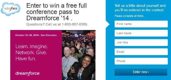 win free salesforce dreamforce 2014 full conference pass