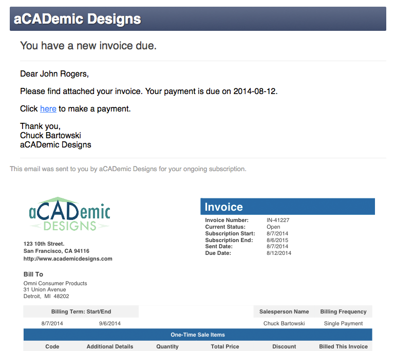 email invoices from salesforce for payment